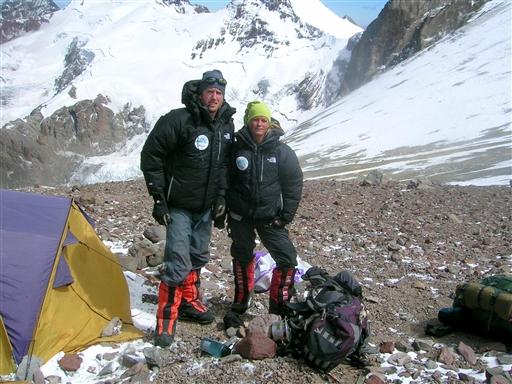 Makkerparret, der også fungerede som Topas turledere på Aconcagua bestigningen