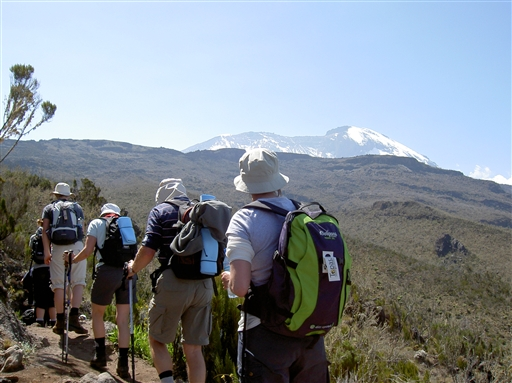 Vandring i 3500 m. p� vej mod Shira 2 camp