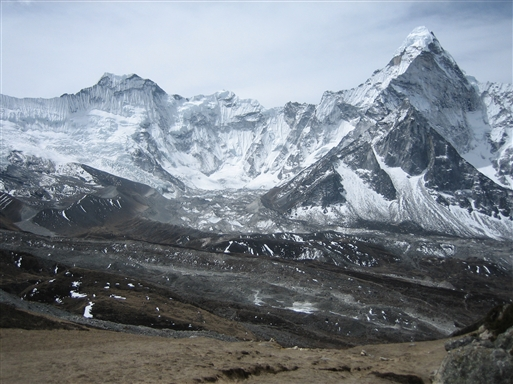 Ama Dablam gletscheren set fra 5.000 m
