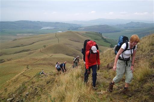 På vandretur ved Drakensberg