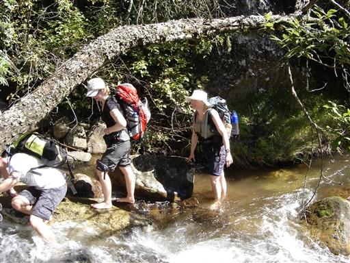 Vi passerer et mindre vandløb - Drakensberg