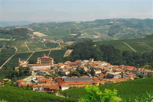 Udsigt ud over Barolo by, omkranset af nogle af de berømte vinmarker