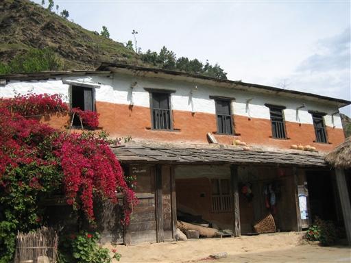 Den karakteristiske byggestil nær Pokhara