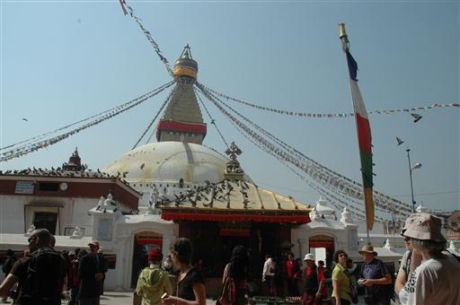 Boudnanath stupaen i den tibetanske del af kathmandu