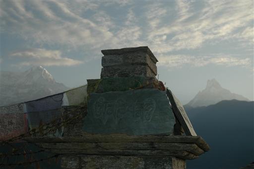 Solopgang i Ghandrung - mindesmærke med Fishtail i baggrunden til højre