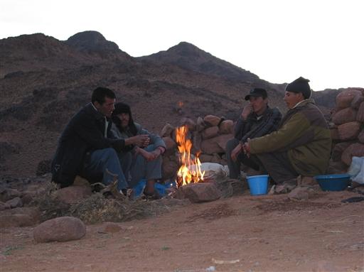 Vores mulddyrdrivere fanget i en stille hyggelig stund ved aftenbålets skær.