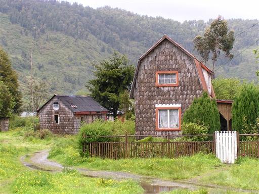 Typiske nybygger-huse i Patagonien