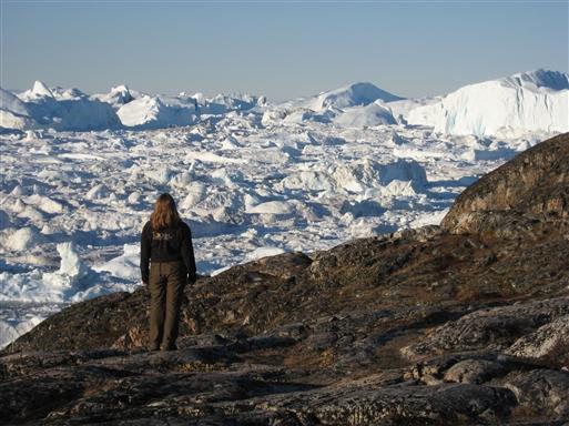 Vandring ved Sermermiut, med udsigt til de enorme isbjerge i Kangia fjorden