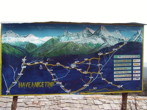 Det store overblik over Annapurnaområdet - bemærk ruten ude til højre!
