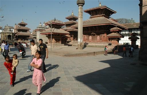 Karakteristiske pagode stupaer i Kathmandu