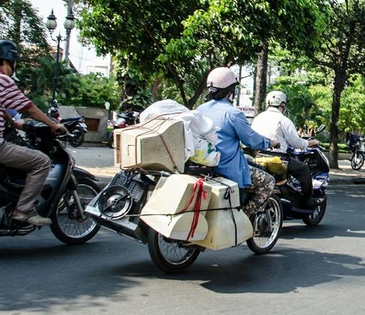 Kreativiteten er stor når det gælder transport i Vietnam