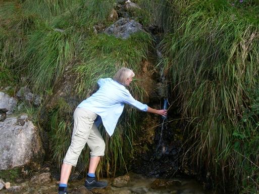Der er dejligt koldt og velsmagende kildevand undervejs på flere af vandreturene.