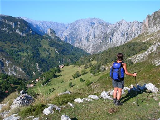 Udsigt ned over Tielve i dalen med Picos bjergenes vestlige massiv i baggrunden.