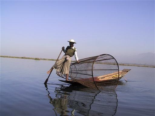 På Inle-søen har man i århundreder brugt denne etbenede ro-metode