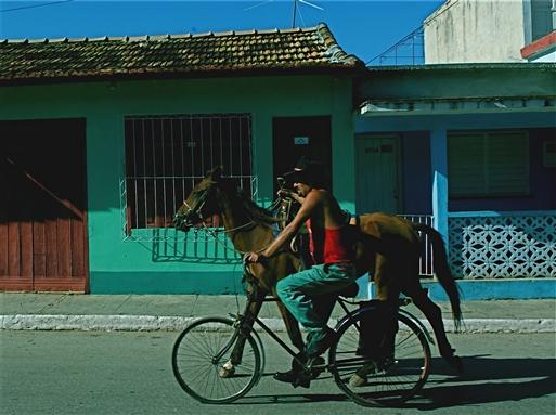 Ham her kører på frihjul, og lader hesten gøre arbejdet.