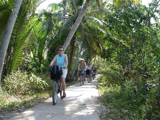 Små palmeomkransede stier er en del af cykelmulighederne i Mekong-deltaet.