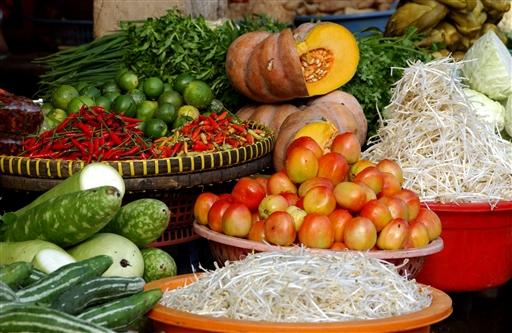 Friske grøntsager fåes på ethvert marked.