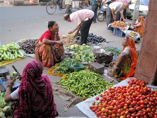 Grøntsagsmarked i Jaipur.