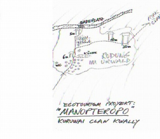 Det eneste og temmelig sikkert første kort over Manopteropo i Korowai regnskov