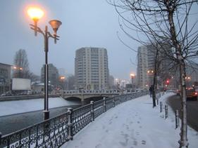 Splaiul Independentei, Dambovita floden i Bukarest.