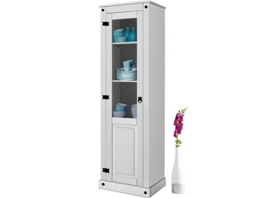 vitrine miguel mit glast r kiefer massiv in wei lackiert. Black Bedroom Furniture Sets. Home Design Ideas