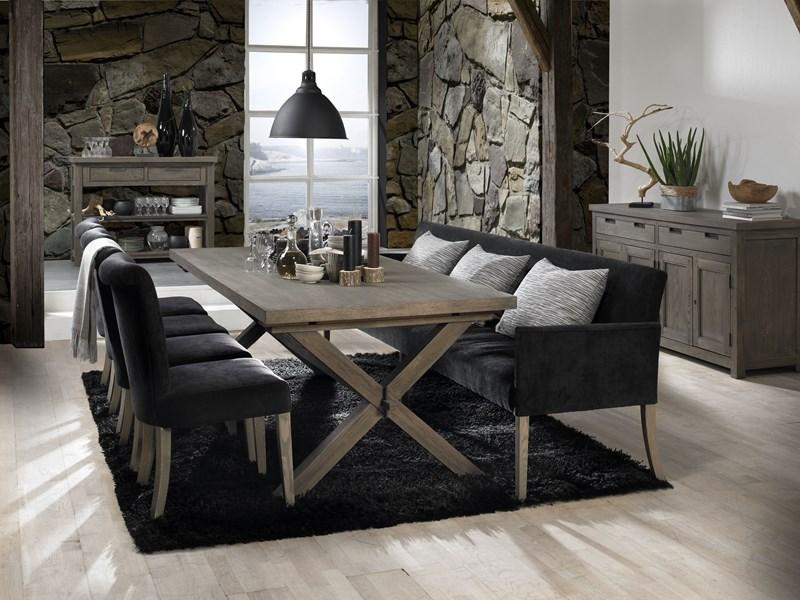 Sofabank sitzbank 290 cm cross aus stoff in schwarz - Esszimmer sofabank ...