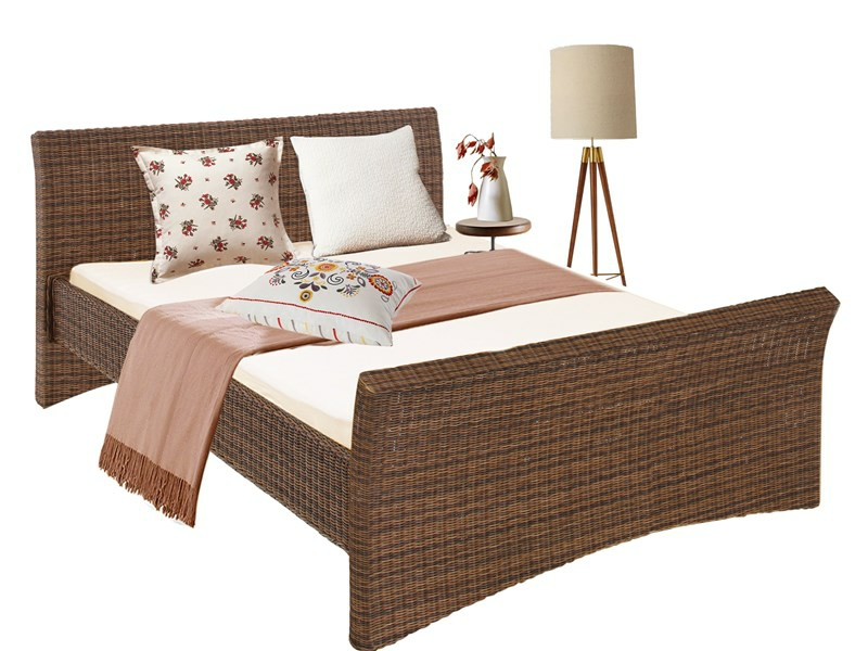 bett nina in 140 cm aus rattan in braun. Black Bedroom Furniture Sets. Home Design Ideas