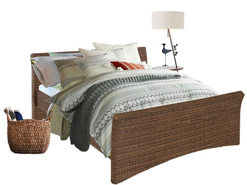 bett nina in 180 cm aus rattan in braun. Black Bedroom Furniture Sets. Home Design Ideas