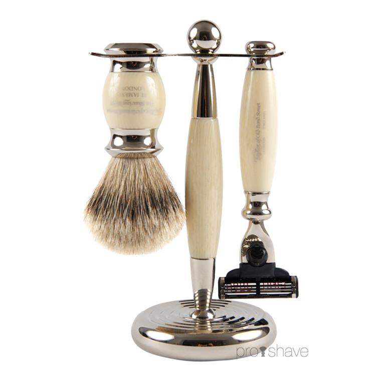 Taylor Of Old Bond Street Barbersæt med Mach3 Skraber, Barberkost og holder, imit. elfenben