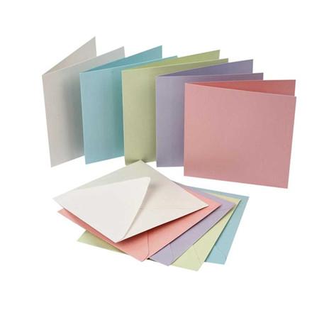 Perlemorskort, 12,5x12,5 cm, pastel farver, 10 sæt