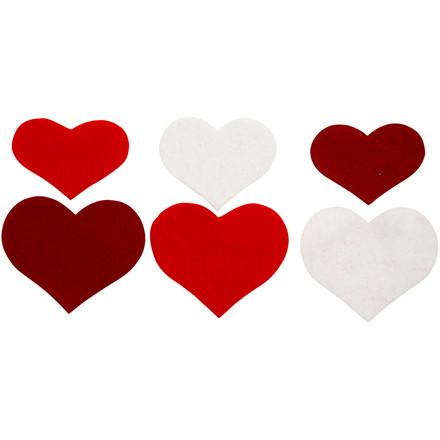 Hjerter i filt, 35+40+50 mm, 108 ass.