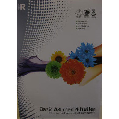 RELIEF KOPIPAPIR HVID MED 4 HULLER A4 80 GRAM 500 ARK PR. PAKKE