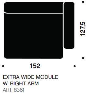 MAGS chaiselong modul ekstra bred art. 8361