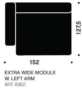 MAGS chaiselong modul ekstra bred art. 8362
