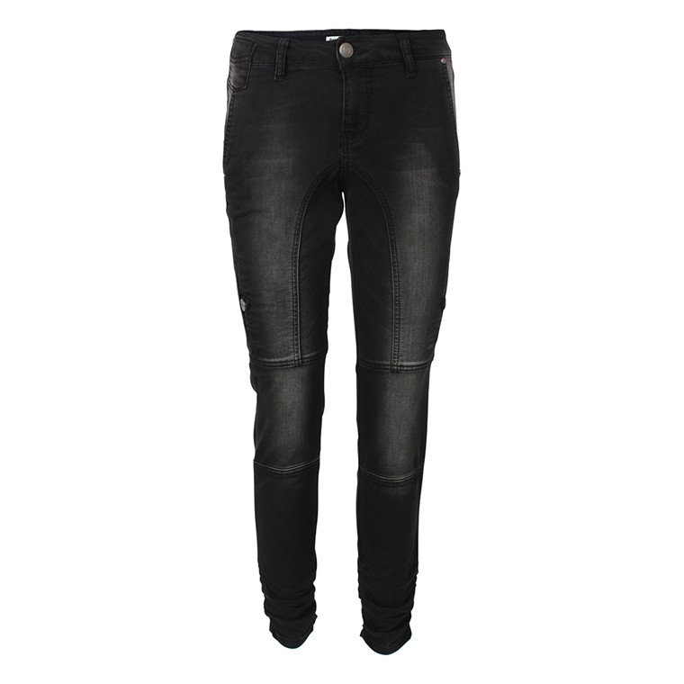 PULZ BUKSER - P94197A FAYLINN LONG BLACK DENIM