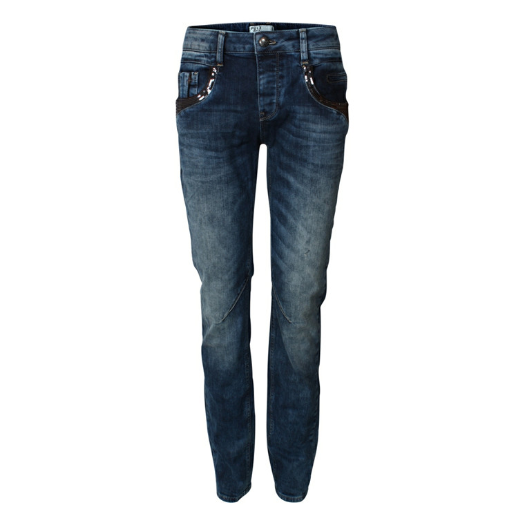 PULZ JEANS - P95303B EVELYN STRAIGHT BLÅ
