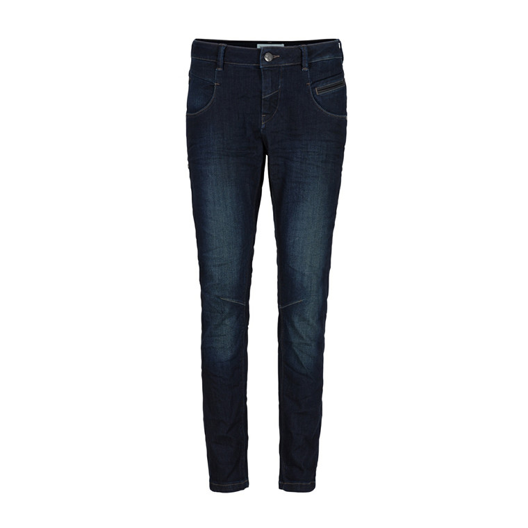 MOS MOSH JEANS - NELLY LEATHER BLÅ