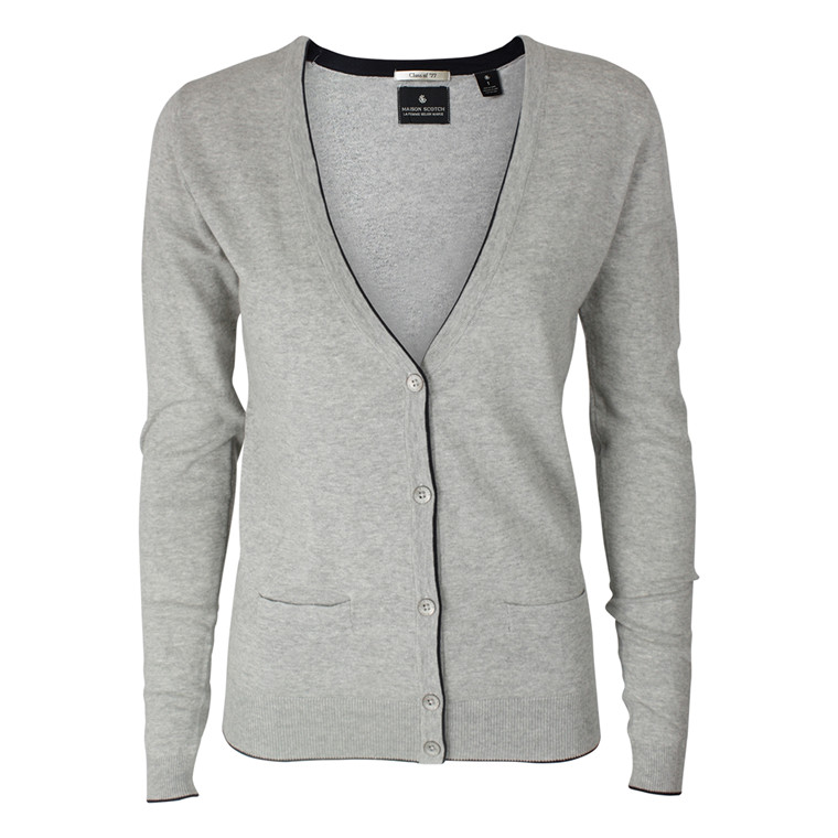 MAISON SCOTCH CARDIGAN - 60711 SIGNATURE BASIC GRÅ