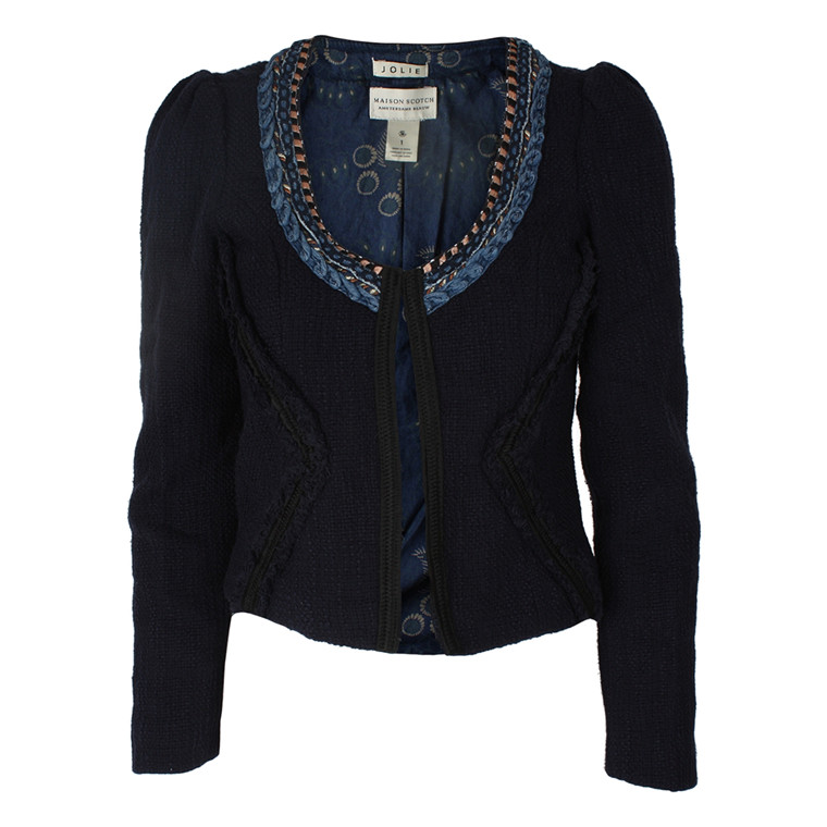 MAISON SCOTCH BLAZER - 30748 INDIGO TWEED BLÅ