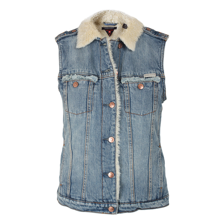 MAISON SCOTCH DENIMVEST - 10707 SLEEVELESS TRUCKER BLÅ