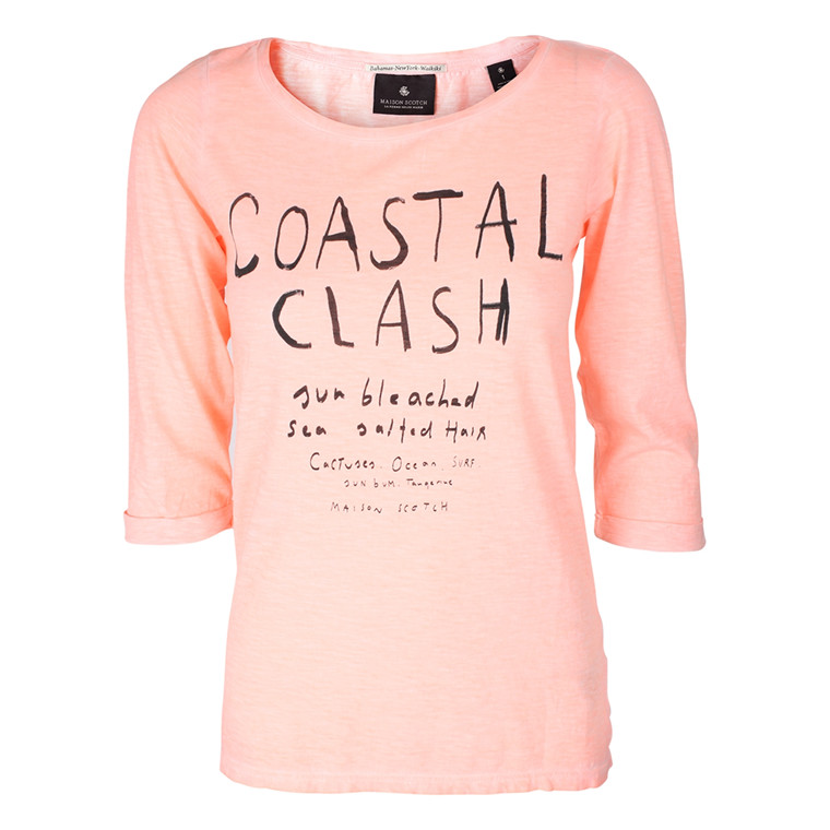 MAISON SCOTCH T-SHIRT - 50719 3/4 SLEEVE TEE CORAL