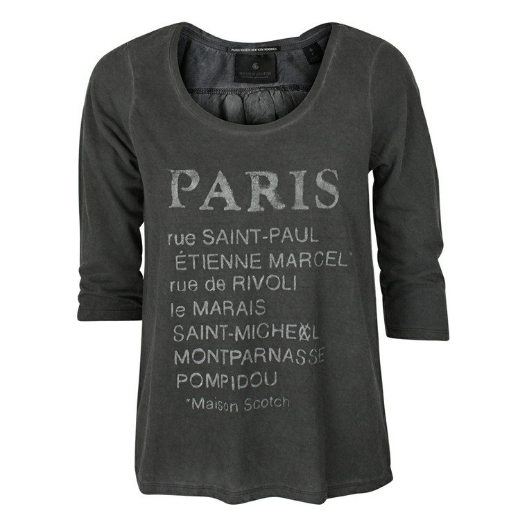 MAISON SCOTCH T-SHIRT - 50702 MØRK GRÅ