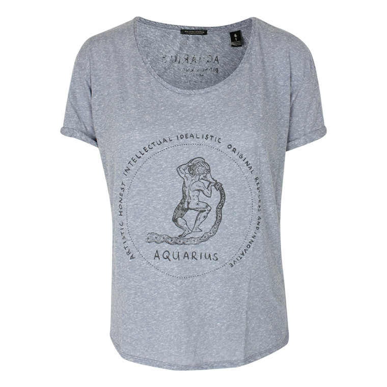 MAISON SCOTCH T-SHIRT - 51839 ZODIAC TEE BLÅ