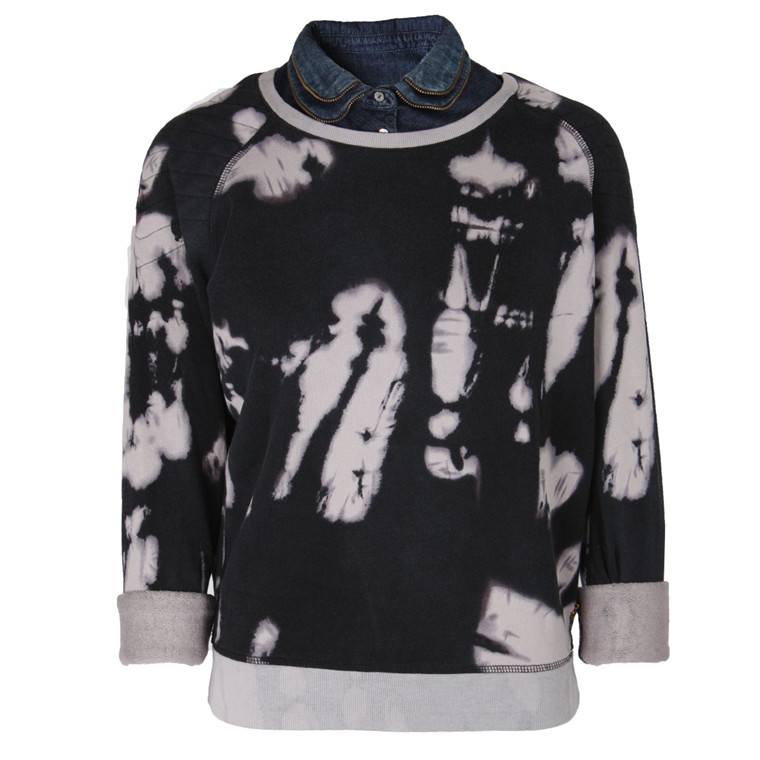 MAISON SCOTCH SWEATSHIRT - 40762 TIE DYE BLÅ