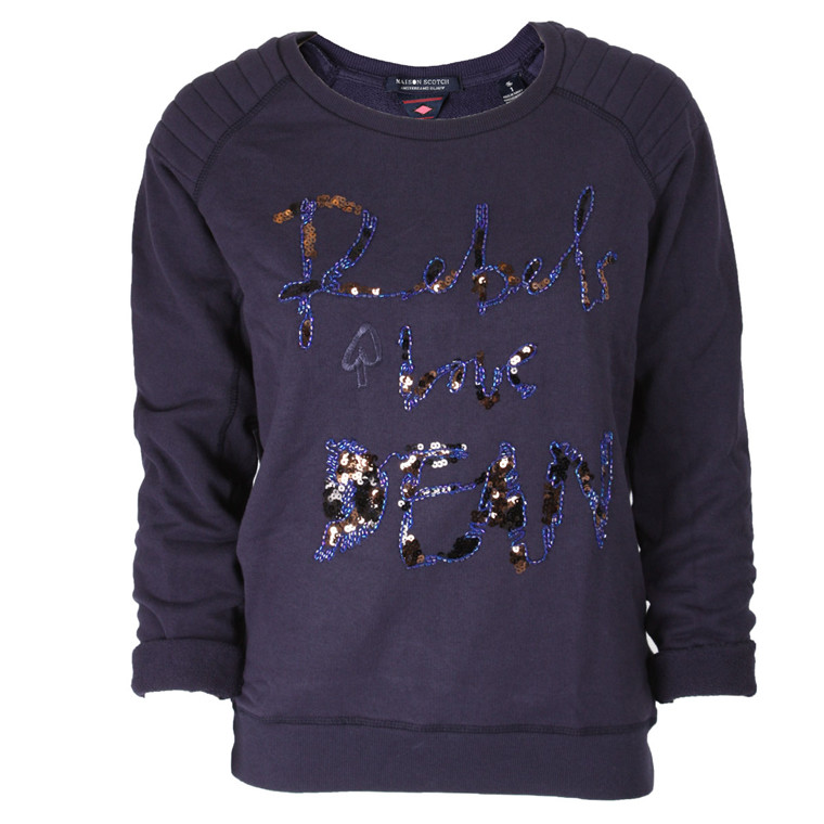 MAISON SCHOTCH SWEATSHIRT - 40763 ICONIC LOVES BLÅ