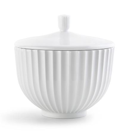 Lyngby Porcelæn BonBonniere Lågkrukke hvid