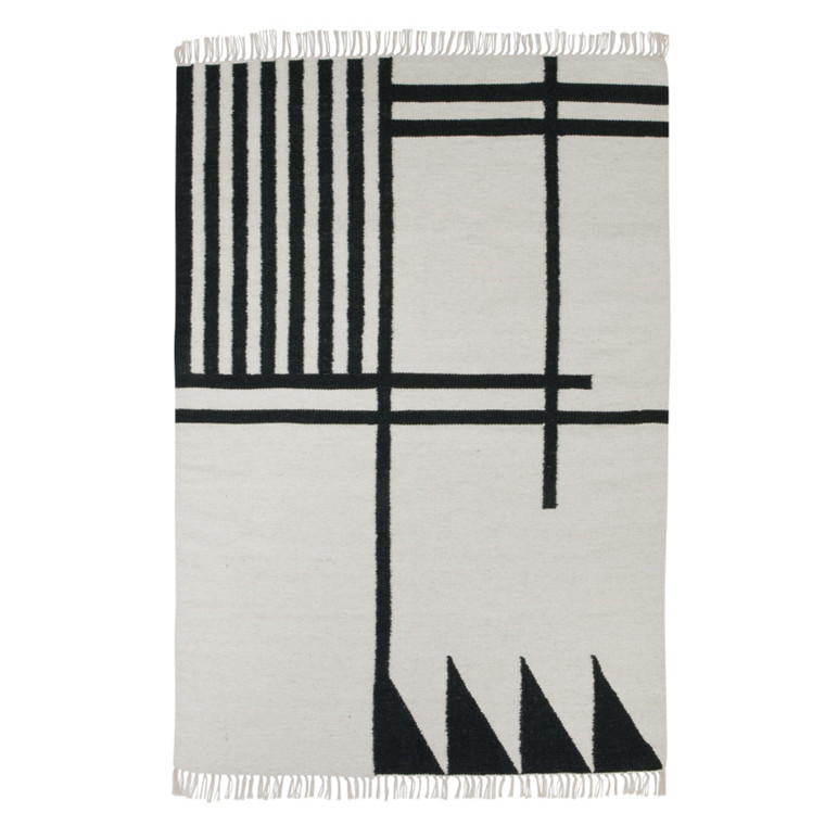 Ferm Living Kelim Rug Black Lines Large