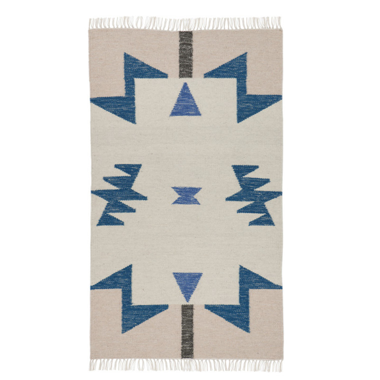 Ferm Living Kelim Rug Blue Triangles