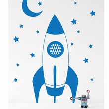 Ferm Living Rocket wallsticker blå