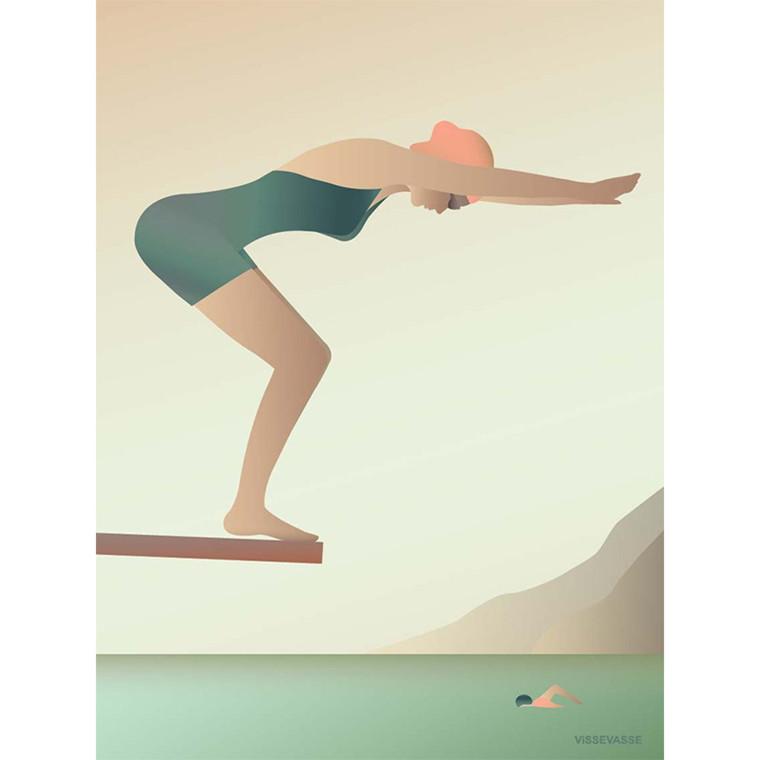 Vissevasse plakat Svømmeren